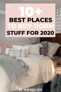 I'm so obsessed with all the things these places have for dorm room decor! As an incoming freshman, this post is everything I needed to prepare for my big move! Pink Dorm Rooms, Cute Dorm Rooms, College Dorm Rooms, College Life, College Dorm Organization, College Dorm Essentials, College Checklist, Room Essentials, Dorm Room Gifts