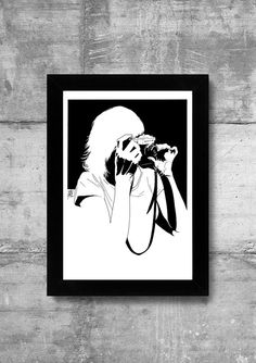 #poster #vintagecamera #gerl #blackaandwhite With photo camera by DrawGeek on Etsy