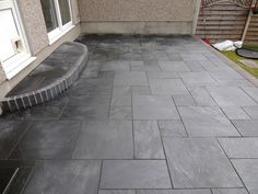 Black slate patio tiles for small narrow patio flooring Black Slate Tiles, Slate Pavers, Outdoor Tiles, Patio Design, Gorgeous Houses, Limestone Patio, Porch Tile, Patio Flooring, Patio Tiles