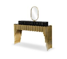 The Symphony Dressing Table draws inspiration from church organ tubes, as well as the curves of a violin. Like all of Maison Valentina's designs, the Symphony Dressing Table is handmade by experienced artisans, each with different specialties, from metalwork to woodcarving. It features a cluster of polished brass tubes that envelopes an exotic wood structure and a serpentine front and countertop produced in wood and lacquered in a high gloss black. There are five small drawers on it, perfect to Tv Unit Design, Wood Structure, Small Drawers, Modern Table, Round Mirrors, Polished Brass, Industrial Style, Metal Art, Metal Working