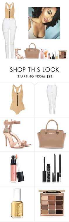 """-Glo Queen"" by thegloup-reina on Polyvore featuring Lisa Marie Fernandez, Topshop, Gianvito Rossi, Michael Kors, Laura Geller, NARS Cosmetics, Essie and Stila"