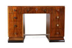 Art Deco Desk In Walnut, French C1930 - Antiques Atlas