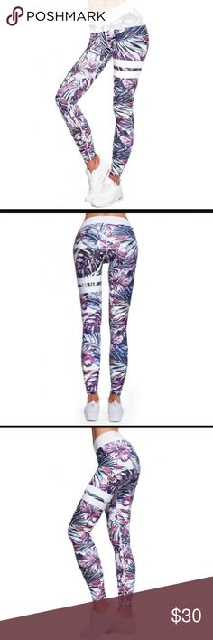JUST IN - Fun, tropical sportswear leggings These have arrived!! I don't know about you but I love this fun print for my summer prep workouts. It just feels fun! I love the white accents.  FREE shipping for the next 24 hours for my VIP customers whole follow my closet. Pants Leggings