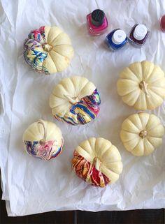 DIY Nail Polish Marbled Pumpkins