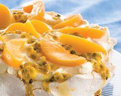 Peach Pavlova recipe from Food in a Minute