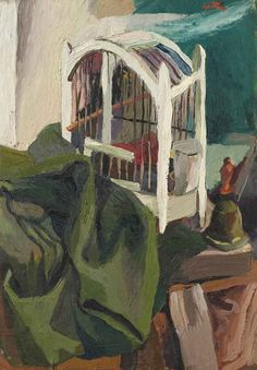 blastedheath:  Renato Guttuso (Italian, 1912-1987), Gabbia e cappello verde [Cage and green hat], 1940-41. Oil on plywood