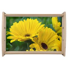 Yellow Gerber Daisies Serving Tray from Florals by Fred #zazzle #gift