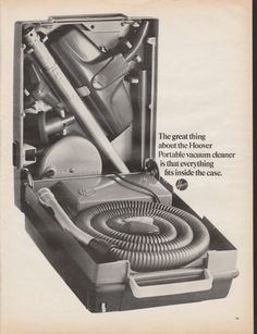 """1966 HOOVER PORTABLE VACUUM CLEANER vintage magazine advertisement """"The great thing"""" ~ The great thing about the Hoover Portable vacuum cleaner is that everything fits inside the case. ~"""