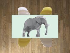 """Ein Elefant auf deinem Esstisch! Tischfolie """"Origami Elephant"""" #Elefant #Tisch #Schreibtisch #Esstisch #origami #bekleben"""