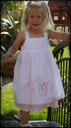 Monogrammed Pinafore Dress..ok I can't sew..but this would be cute on my grandbabies I have someday!