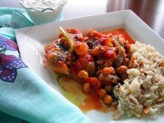 Chicken with Eggplants and Chickpeas (chicken breasts are browned and then braised with eggplant, chickpeas, pearl onions, tomatoes and spices)