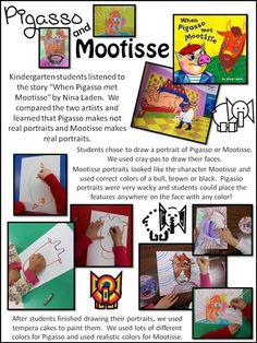 pigasso and mootisse Kindergarten Art Lessons, Art Education Lessons, Preschool Literacy, Art Lessons For Kids, Art Lessons Elementary, Preschool Art, Art Sub Plans, Art Lesson Plans, Classroom Art Projects
