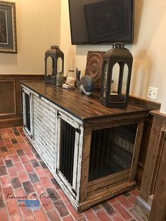 Dog crate that functions as an entertainment center, tv stand, entry table.or mud room piece. Furniture for the dogs! Dog Kennel Panels, Dog Kennel Cover, Diy Dog Kennel, Kennel Ideas, Plastic Dog Kennels, Urban Farmhouse Designs, Luxury Dog Kennels, Dog Kennel Designs, Crate Furniture