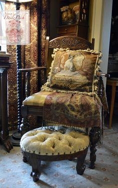 Hand Carved Mahogany French Country Tufted Foot Stool Ottoman