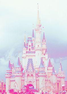 Disney castle fantasy pink girly wallpaper background