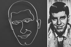 Wire art portrait of Jerry Lewis |  30 X 40 cm | web: www.artbending.ro