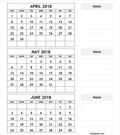 3 month calendar april may june 2018
