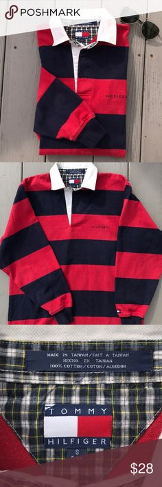 "Tommy Hilfiger Rugby Shirt Throwback from the late 90's. Red and blue stripes with the usual fading of a vintage item. These were worn with carpenter jeans and Wallabees for the perfect preppy look. Size is Men's small, measuring 21"" pit-pit, 28"" long and the sleeves are 22"" long from the shoulder seam to the cuff. No rips, holes or stains Tommy Hilfiger Shirts Polos"
