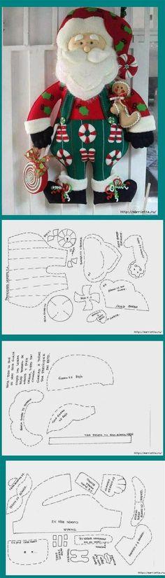 27 Moldes De Papá Noel En Fieltro Con Plantillas Christmas Makes, Noel Christmas, Christmas Items, Christmas Projects, Father Christmas, Winter Christmas, Felt Christmas Ornaments, Christmas Stockings, Christmas Decorations