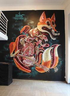 Nychos-street-art-6  // les créations street art de Nychos, qui dévoileles anatomies de ses personnages dans des compositions explosives et colorées