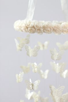 SALE Ivory Cream Butterfly Mobile with Rose Ribbon Hoop- Nursery Decor, Baby Shower Gift, Nursery Mobile