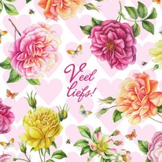 Kaart met hartjes en kleurrijke bloemen                   Janneke Brinkman