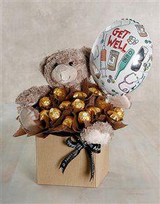 Buy Choc Teddy Get Well Edible Arrangement Online - NetFlorist Gift Bouquet, Candy Bouquet, Chocolate Flowers Bouquet, Candy Arrangements, Valentines Gift Box, Flower Box Gift, Balloon Gift, Balloon Decorations Party, Diy Crafts For Gifts