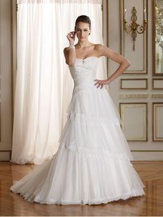 Silk Like Satin Sweetheart Draped Silk Bodice A-line Wedding Dress