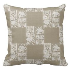 Light Tan Floral Pillow