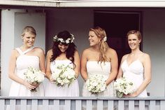 Bridesmaids' and Bride's soft, earthy hairstyles