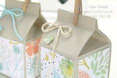 POOTLES Stampin' Up! UK Mini Hand Cut Milk Cartons Tutorial close up