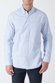 $30 {Son and Heir} Modern Oxford Shirt in Hint of Blue