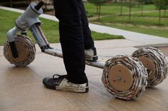 The Paper Push is a scooter made out of easily procurable materials, primarily