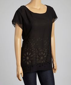 Love this Black Sheer Floral Angel-Sleeve Top - Plus by Metro 22 on #zulily! #zulilyfinds