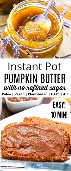 Instant Pot Pumpkin Butter makes a fantastic fall spread or topping, with no refined sugar! Layer in yogurt parfaits, top waffles, pancakes and cheesecakes, or just use on toast! Dairy-free and so much fun for fall! || Eat Beautiful | Instant Pot Pumpkin Butter | Paleo | Vegan & Plant-based | GAPS diet | AIP | #pumpkinbutter #instantpot #paleo