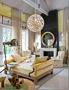 Barry Dixons take on yellow is subdued and sexy, paired with beige, off white and charcoal. Image via  Barry Dixon.