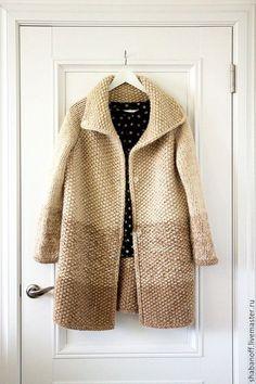 """Купить пальто """"The warm of summer"""" - бежевый, однотонный, вязаное пальто, вязаный кардиган:"""