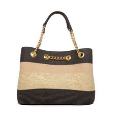 New Directions Blackgold Straw Stripe Chain Tote ($55) ❤ liked on Polyvore featuring bags, handbags, tote bags, handbags totes, striped purse, striped tote bag, stripe tote and chain strap purse