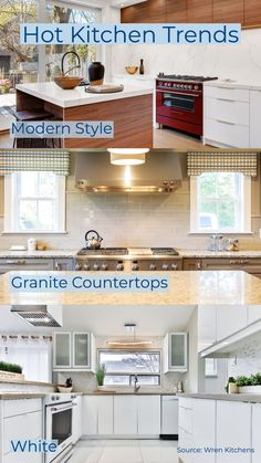 What's cooking in kitchen design in 2020? Find out the most Insta-worthy styles, features, and colors. Wren Kitchen, White Granite Countertops, Kitchen Trends, Kitchen Design, Magazine, Colors, Cooking, Hot, Modern