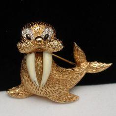 Walrus Brooch Pin Vintage Figural Jomaz | eBay