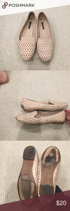 Nude cutout loafers Nude cutout loafers good condition, scuffs and flaws as shown. Only worn a few times. Size 5.5 runs big, best fits a size 6 Shoes Flats & Loafers