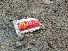 "McDonald's ""Fancy"" Ketchup Packet...single use litter for our convenience is killing our marine life.  Picture from  It Starts With Me Blog"