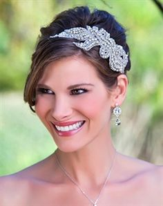 Silver applique headband with rhinestone and pearls $174.00  angelicjewelry.com Love this!