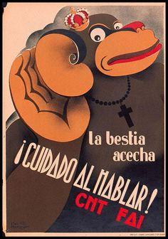 Spain - 1936-37. - GC - poster - CNT-FAI - La bestia acecha - ¡Cuidado al hablar!