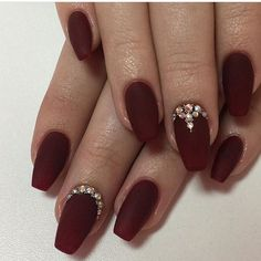 Oxblood nails with rhinestones oxblood nails, burgundy nails, matte nails, red gel nails Oxblood Nails, Red Stiletto Nails, Red Acrylic Nails, Burgundy Nails, Red Nails, Burgundy Wine, Fall Nails, Burgundy Color, Matte Nails