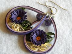 Medium Paper Quilled Earrings with Purple Flower