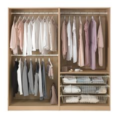IKEA - PAX, Wardrobe, 200x58x201 cm, , 10 year guarantee. Read about the terms in the guarantee brochure.You can easily adapt this ready-made PAX/KOMPLEMENT combination to suit your needs and taste using the PAX planning tool.If you want to organise inside you can complement with interior organisers from the KOMPLEMENT series.Adjustable feet make it possible to compensate any irregularities in the floor.