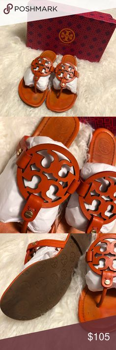 Tory Burch Miller Good used condition. Comes with box- from Saks - tiger lily is the color. Tory Burch Shoes Sandals