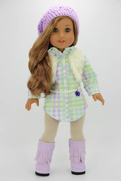 Handmade 18 inch doll clothes Lavender and mint green 5