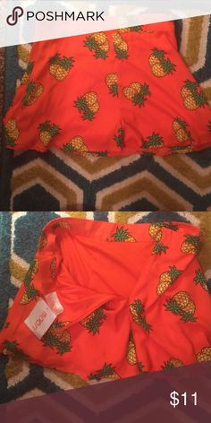 Pineapple summer shorts skirt Got it from dollskill. Never worn. With tags. Wish I could fit into it! Shorts Skorts